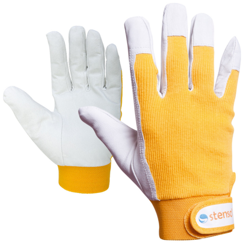 GILT YELLOW Leather and textile gloves