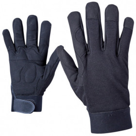 BLACK ART Leatherette and textile gloves 1