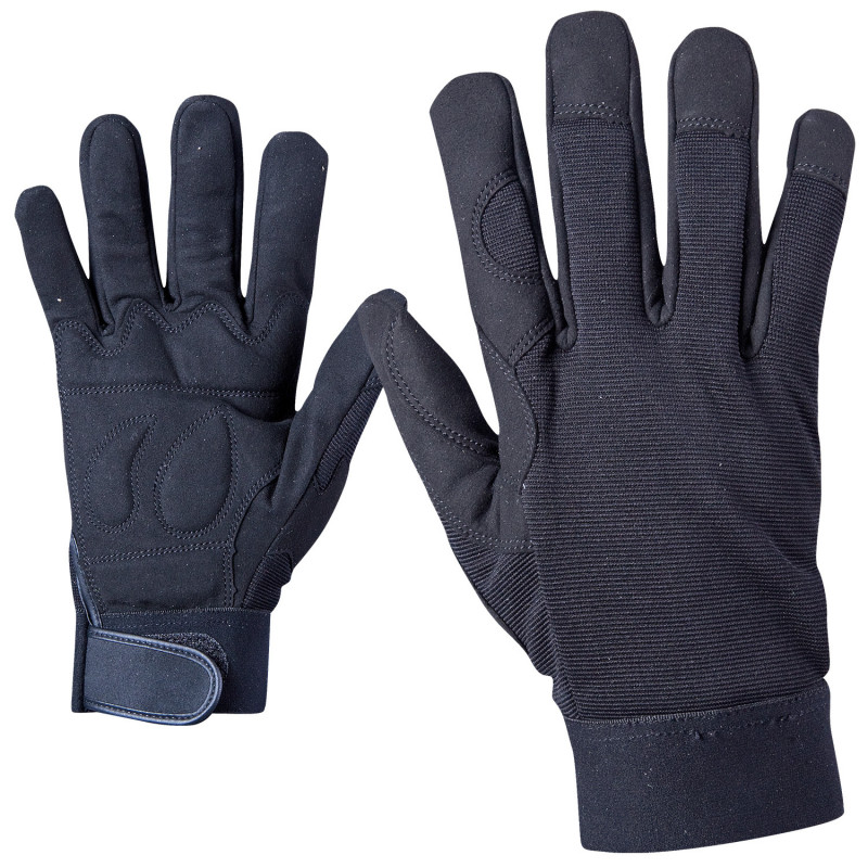 BLACK ART Leatherette and textile gloves