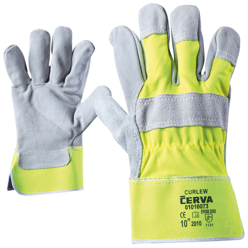 CURLEW HV YELLOW Leather and textile gloves