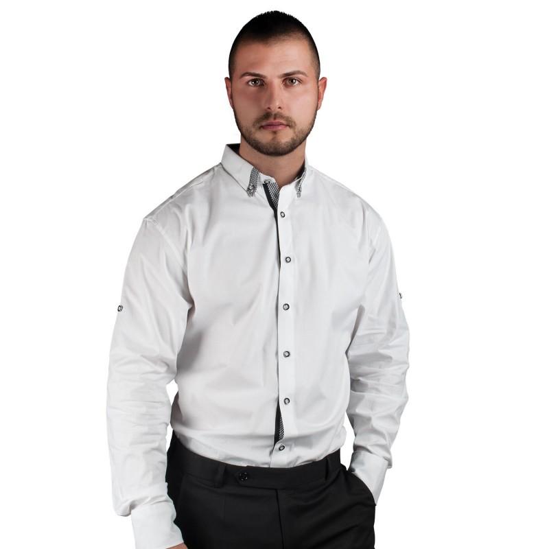 ALBERTO WHITE Men's long sleeve shirt