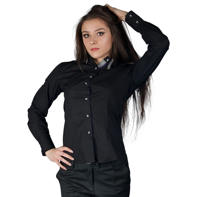 ALBERTA BLACK Lady's long sleeve shirt