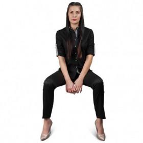ALBERTA BLACK Lady's long sleeve shirt 2
